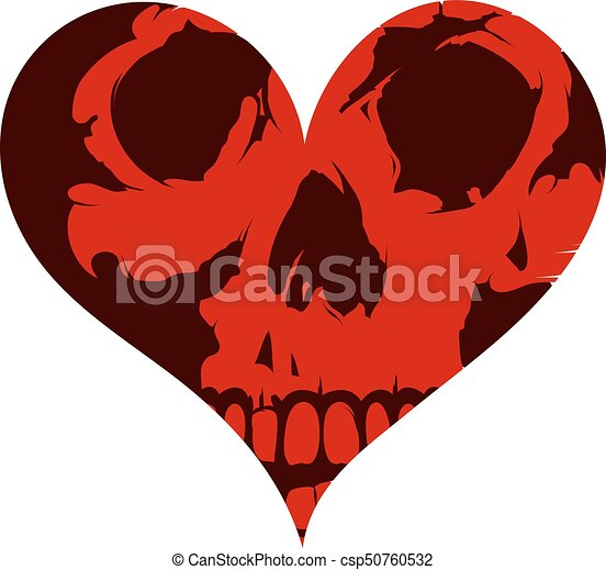 Heart shape concept tattoo with the skull - csp50760532
