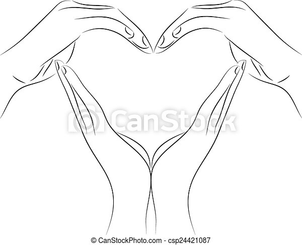 Pencil Drawings Of Hands Making A Heart