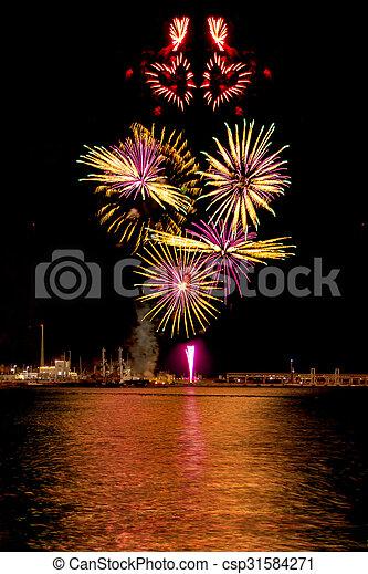 Heart shape fireworks - csp31584271
