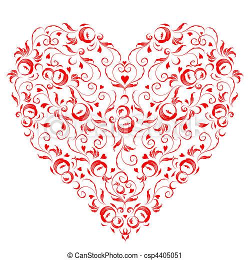 Heart shape, floral ornament for your design  - csp4405051