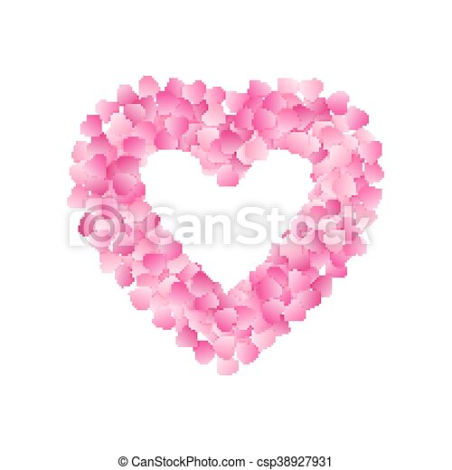 Heart Shape Frame Made Of Pink Hearts Valentines Day Card Or