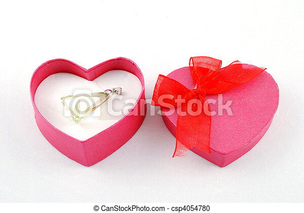 heart shape gift box with pendant - csp4054780