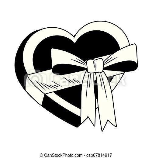 Heart shape giftbox pop art in black and white - csp67814917