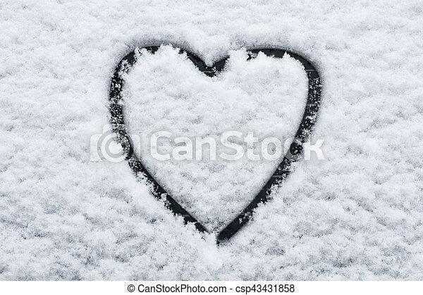Heart Shape In Snow On Car Window Heart Shape In Snow On Stock