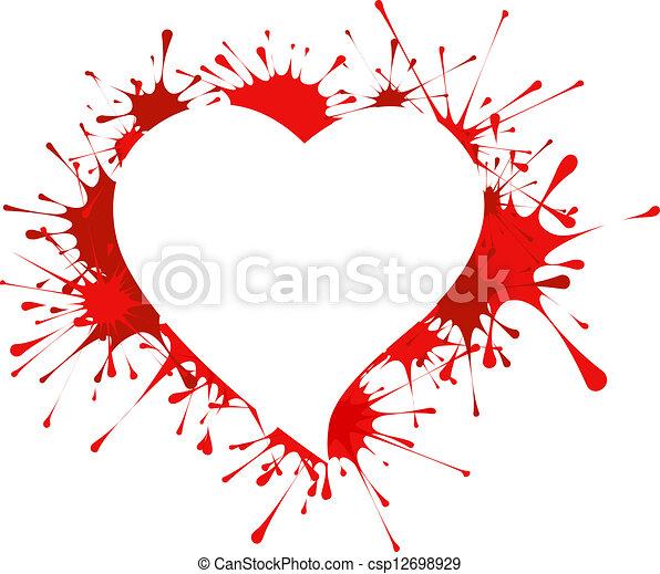 Heart shape in splashes - csp12698929