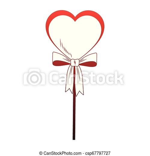 Heart shape lollipop pop art red lines - csp67797727