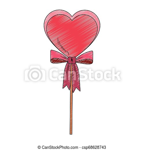 Heart shape lollipop pop art scribble - csp68628743
