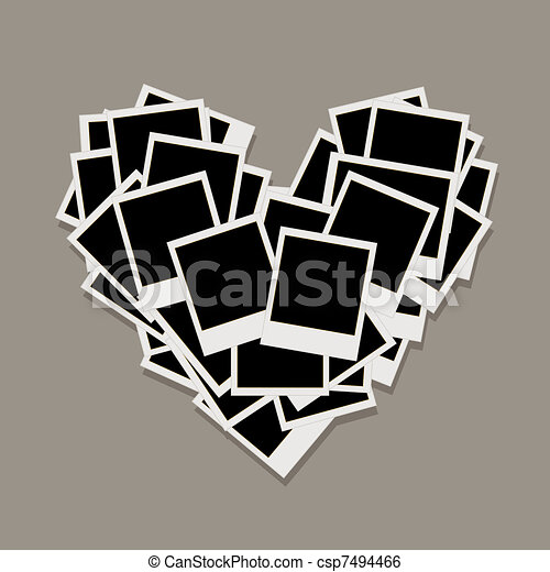 Heart shape made from photo frames, insert your photos - csp7494466