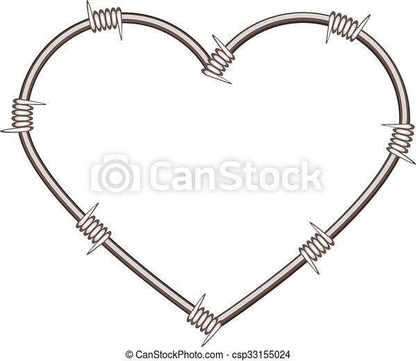 Heart shape of barbed wire. isolated illustration in vector format.
