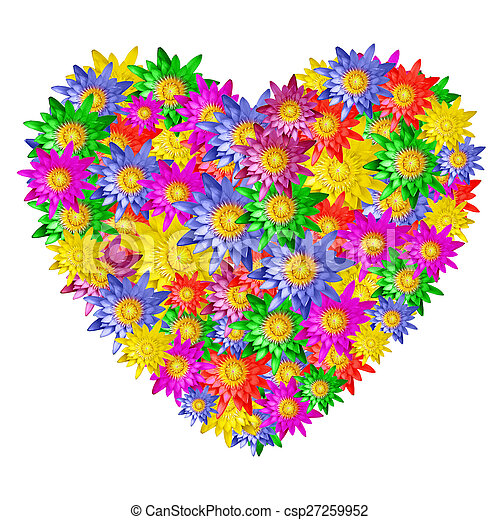 Heart shape of colorful lotus flower on white background stock heart shape of colorful lotus flower csp27259952 mightylinksfo Images