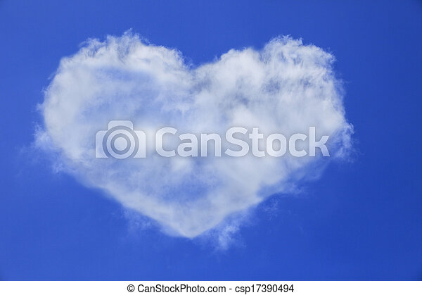 heart shape of white cloud on blue sky use for multipurpose natural background or backdrop - csp17390494