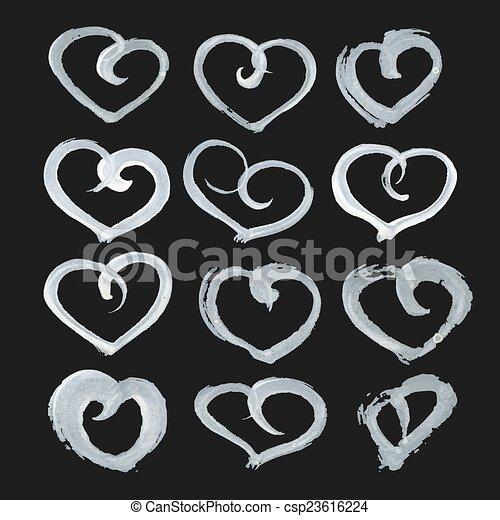 heart shape paint on black paper - csp23616224