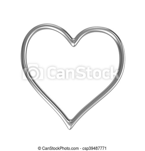 One single heart shape silver ring frame isolated on white ...