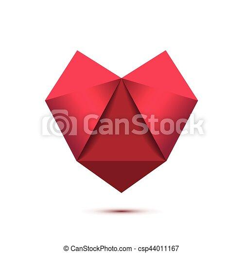 Heart Shape Symbol Isolated On White Background Triangle Heart