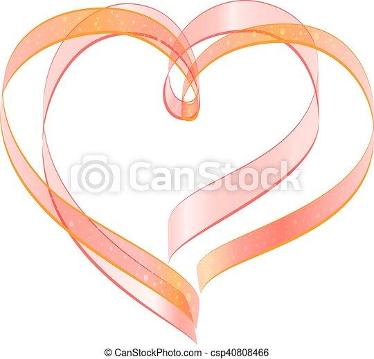 Heart Shape Symbol Of Love Red Ribbon Two Heart Shape Symbol Of