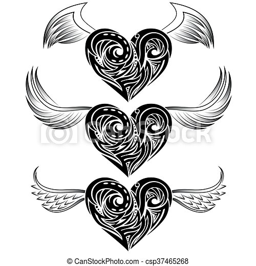 Heart Shape Tattoo Ornament Heart Shape Tribal Tattoo Ornament Canstock