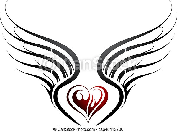 heart shape tattoo with wings tattoo design with heart vector rh canstockphoto com wings vector free wings vector free download