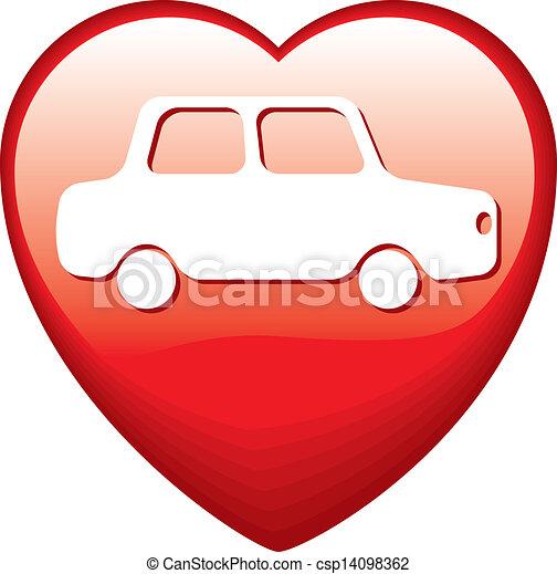 heart shape with car red heart shape with white car inside clip art rh canstockphoto com Heart Outline Heart Border Clip Art