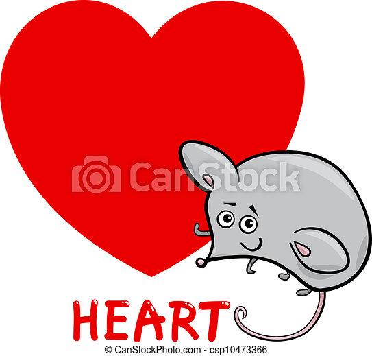 Heart Shape With Cartoon Mouse Cartoon Illustration Of Heart Basic