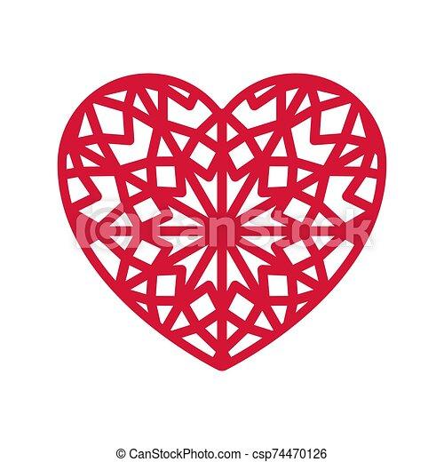 Heart shape with geometric ornament. - csp74470126