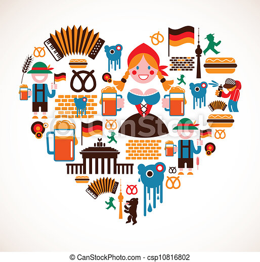 heart shape with germany icons heart shape with collection of rh canstockphoto com german clip art landmarks german flag clipart