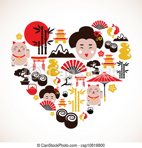 Heart shape with Japan icons - csp10816800