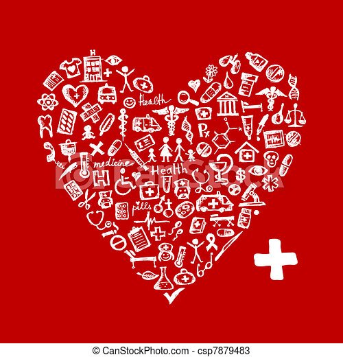 Heart shape with medical icons for your design - csp7879483