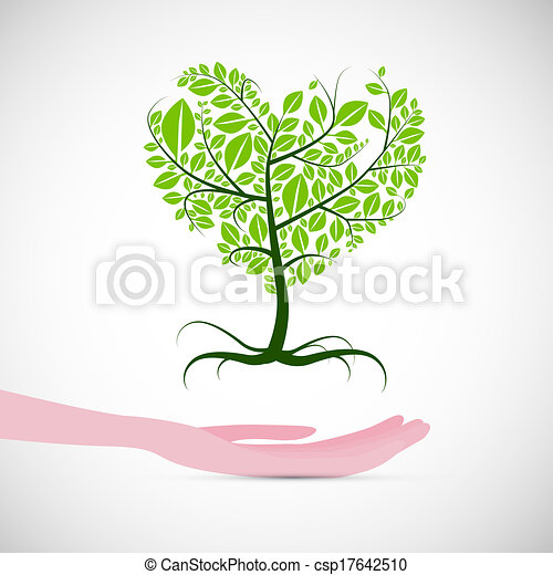 Heart Shaped Abstract Green Tree in Human Hand - csp17642510