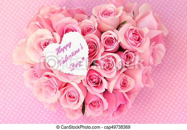 Heart Shaped Bouquet Of Pink Roses For Valentines Day