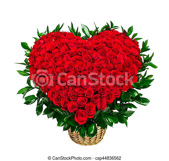 Heart Shaped Bouquet Of Red Roses Isolated On White Background