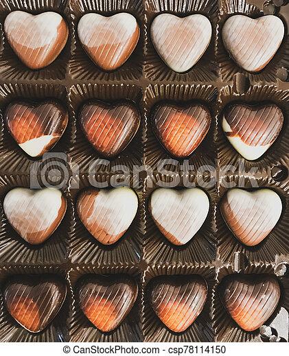 Heart Shaped Chocolates In A Festive Box - csp78114150
