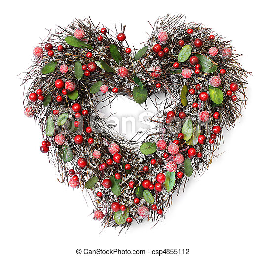 Christmas Heart Wreath.Heart Shaped Christmas Garland With Red Berries And Green Leaves On White Background Soft Shadows