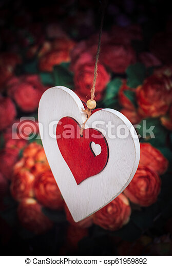 Heart shaped colorful decorative objects - csp61959892