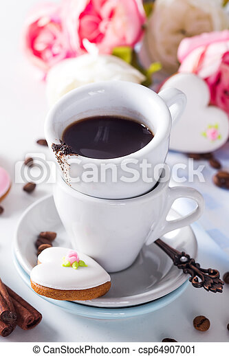 Heart shaped cookies and coffee cup gift on Valentine's Day, Mother's Day, gift, surprise, heart - csp64907001