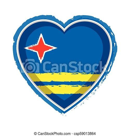 Heart shaped flag of Aruba - csp59013864