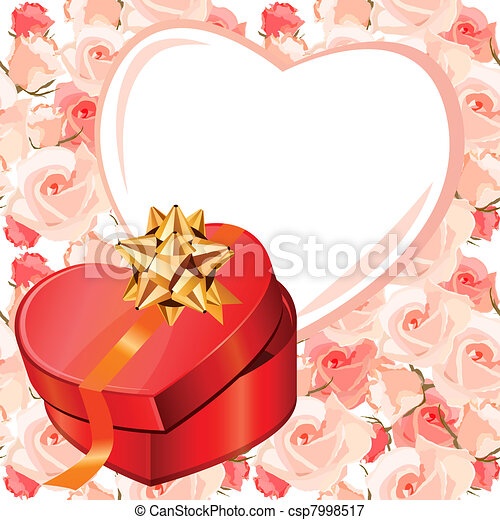 Heart-shaped frame and gift box. Background is seamless - csp7998517
