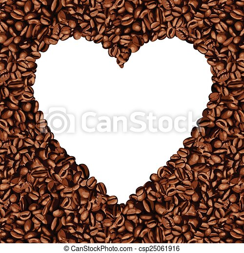 Heart shaped frame made of coffee . Scalable vectorial image ...