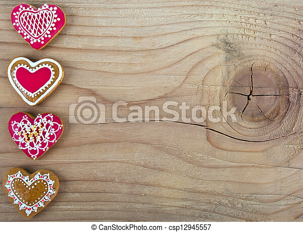 heart shaped Gingerbread cookie - csp12945557