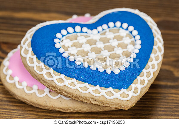 Heart Shaped Gingerbread Cookies - csp17136258