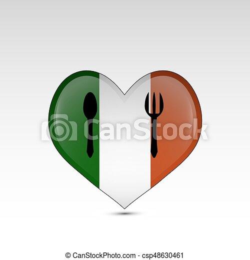 Heart shaped Italy flag - csp48630461