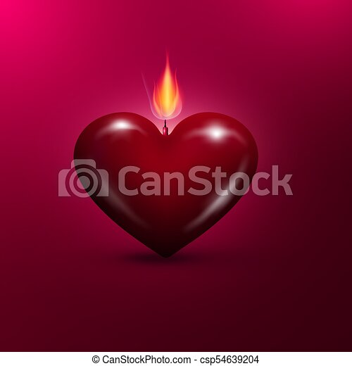 Heart Shaped Lit Candle. Vector Valentines Day Background. - csp54639204