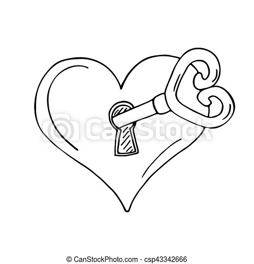 heart shaped lock with key on white background Skeleton Key Movie heart shaped lock with key csp43342666