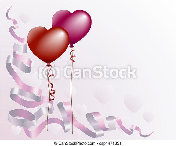 Heart shaped love balloon background - csp4471351