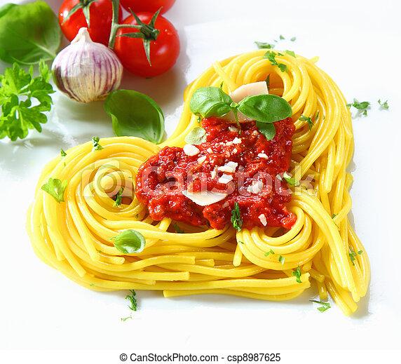Heart-shaped Pasta And Tomato - csp8987625
