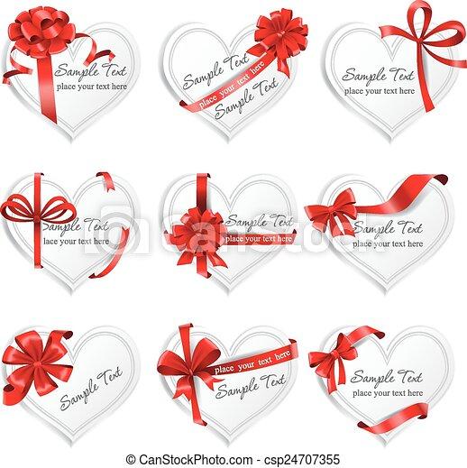 heart-shaped, presente, festivo, ribbons., cartões, vermelho - csp24707355