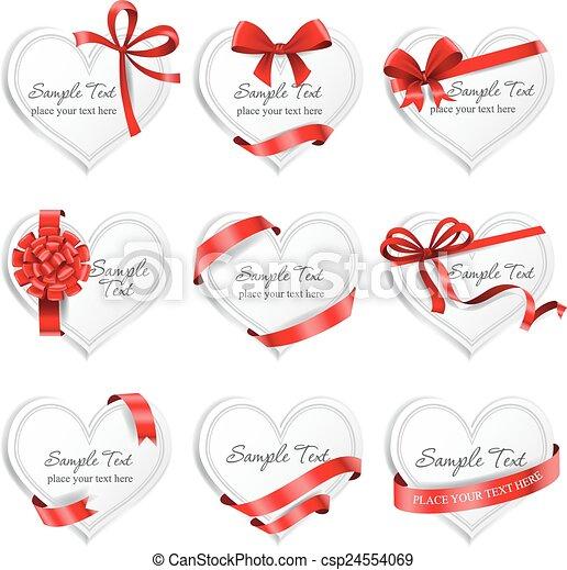 heart-shaped, ribbons., presente, festivo, cartões, vermelho - csp24554069