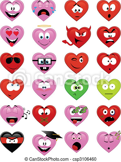 Heart-shaped smiley faces - csp3106460