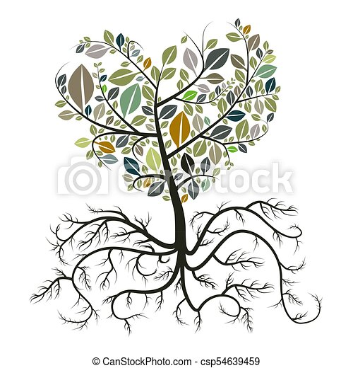 Heart Shaped Tree with Roots Isolated on White Background - csp54639459