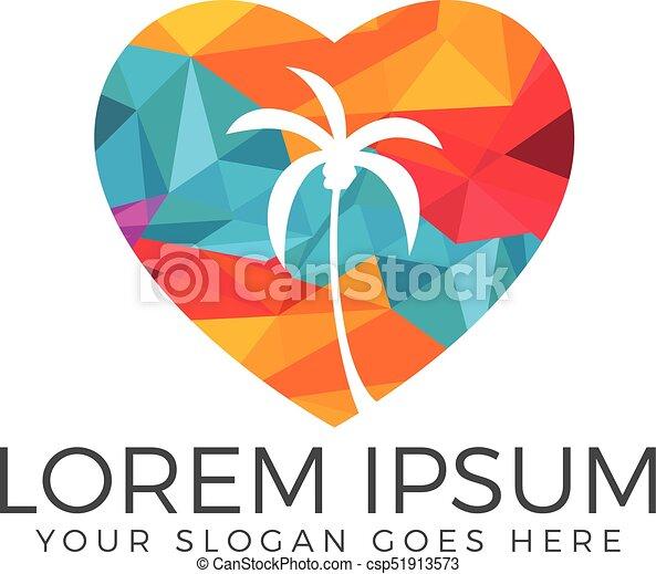 heart shaped tropical beach and palm tree logo design vectors rh canstockphoto com Clip Art Beach Heart Design