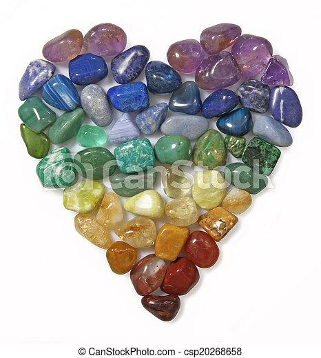 Heart shaped using tumbled Gem Stones - csp20268658